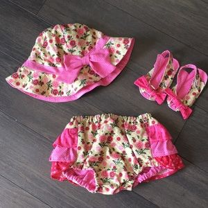 Other - Set of Baby Girl's Hat, Bottoms & Soft Sandals